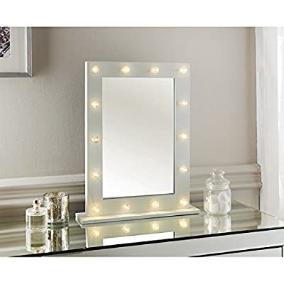 Light Up Dressing Table Hollywood Mirror Led Bulbs Make Up Vanity 50cm Wooden - cheap UK light store.