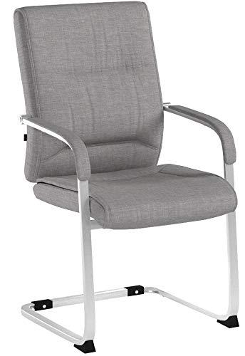 CLP XXL-Freischwinger Anubis mit Stoffbezug und gepolsterter Sitzfläche I Konferenzstuhl mit Metallgestell in Chrom-Optik I erhältlich Grau