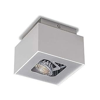 QAZQA Design / Moderne / Plafonnier spot Box S blanc Metal Cube / Carré / Compatible pour LED GU10 Max. 1 x 50 Watt / Luminaire / Lumiere / Éclairage / intérieur / Chambre á coucher / Cuisine