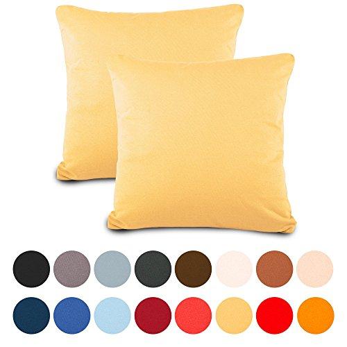 2er-Set Kissenbezug 50x50 Jersey Qualitäts Kissenhüllen mit Reißverschluss 100% Mako Baumwolle, Classic Line aqua-textil 1000991 creme gelb