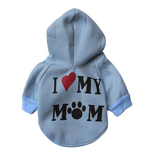 Etbotu Nette ich liebe mein Mamma Muster Welpen Haustier BaumwollSweatshirt Kapuzenpulli Hund beiläufige (Herzen König Der Kostüm Hund)