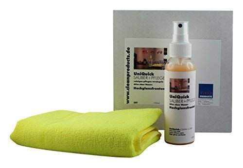 CLEANHOME Set UniQuick Sauber + Pflege - Pflegeset für glänzende Küchen-Oberflächen + Möbel-Oberflächen - Küchenpflege Möbelpflege (Saubere Küche)