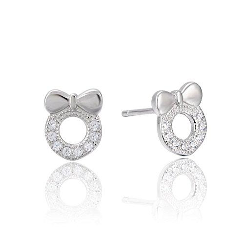 Chanel Bow (Ohrstecker S925 Sterling Silber Koreanische Einfache Inlay Zirkon Bow Weibliche Mode Ohrringe)
