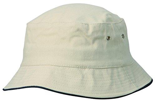 Sombrero de pescador en natural/azul marino Talla S/M