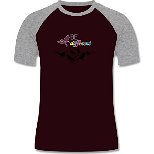 Statement Shirts - Be different - zweifarbiges Baseballshirt für Männer Burgundrot/Grau meliert