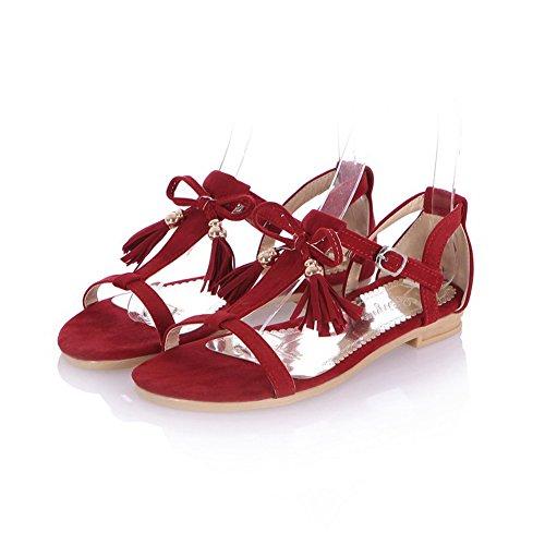Odomolor Donna Puro Tacco Basso Punta Aperta Pelle Di Mucca Fibbia Heeled-Sandals Rosso