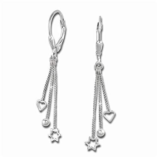 SilberDream Ohrringe für Damen 925 Silber Ohrhänger 3er Kettchen SDO5733