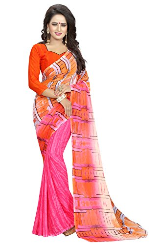 J B Fashion Women's Georgette pink Saree With Blouse Piece