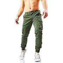 9eda48e75d pantaloni cargo uomo con polsino - Verde - Amazon.it