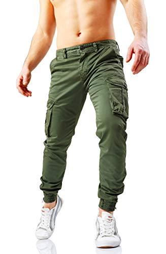 2881a0f7a997bb Pantaloni Uomo Cargo con Tasche Laterali Tasconi Jeans Slim Fit Elastico  alle caviglie Militari Zip(