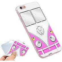 Phone Kandy® Volkswagen VW Camper Van TPU gel de silicona suave Retro caso / cubierta y protector de pantalla - Prime (iPhone 5 5s SE, camioneta rosa)