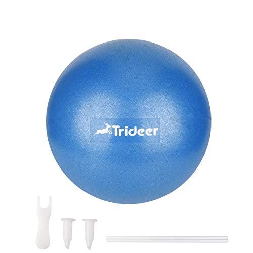 Mini Pilates Ball klein Gymnastikball inkl, Aufblasen Röhrchens, Für Fitness, Reha, Rückentraining und Coordination Herren Damen Kinder, Erhältlich in aktuellen Trendfarben : blau, türkis, violett