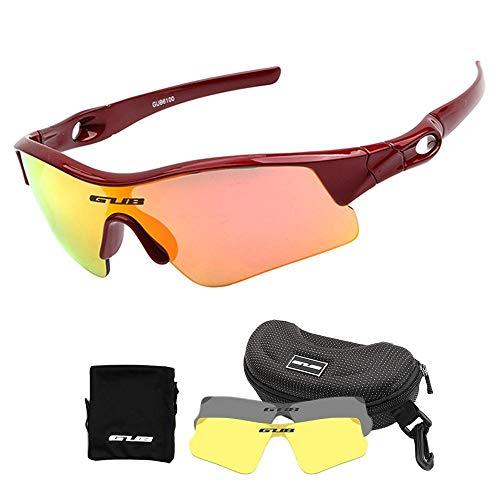 Volwco Kinder Sport-Sonnenbrille mit 3 austauschbaren Gläsern, UV400-Schutz, Sportsonnenbrille für Radfahren, Laufen rot
