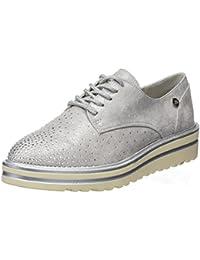 Vinstoken Zapatos de Cordones Vestir Brogue Para Mujer Talón Plataforma 4.5 CM Negro Blanco Blanco 39 SaVIrJqUh