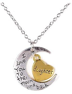 iDealhere Ich liebe dich zum mit Herz Mond und Back Familien Gravuren Halskette Anhänger mit Ketten 50cm (Tochter)