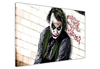 Pop Art Canvas Quote Wall Art Iconic Joker Batman Dark Kight Cowards Prints Pictures Hollywood Legends Dc Comics Print - low-cost UK light store.