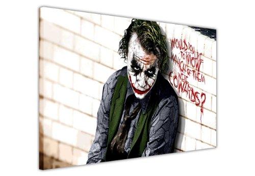 "Pop Art Canvas Zitat Wall Art Iconic Joker Batman Dark Cowards Bilder Hollywood Legends DC Comics Print, canvas, 2- A3 - 16\"" X 12\"" (40CM X 30CM)"