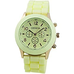 TOOGOO(R) Unisex Silicone Jelly Gel Quartz Analog Sports Wrist Watch Beige