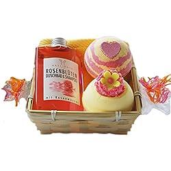 """Frauen - Geschenkset """" Rosenblüten"""" 5 tlg. Duschgel und Shampoo, 2 x Badebombe, Seiftuch 30x30 cm gelb im Geschenkkorb"""