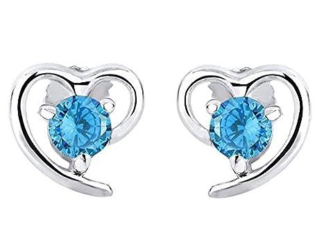 Forfamilyltd L'amour Bleu Topaze Oxyde de Zirconium en Forme de