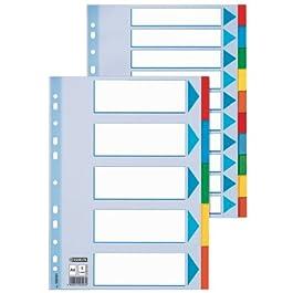 Esselte Intercalare, Formato A4, Cartoncino riciclato, Multicolore