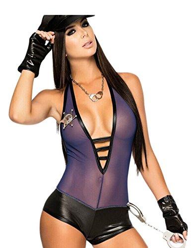 Kostüm Polizistin Uniform Halloween Karneval Undercover Cop Set Lila Einheitsgröße (Cop Kostüm Für Frauen)