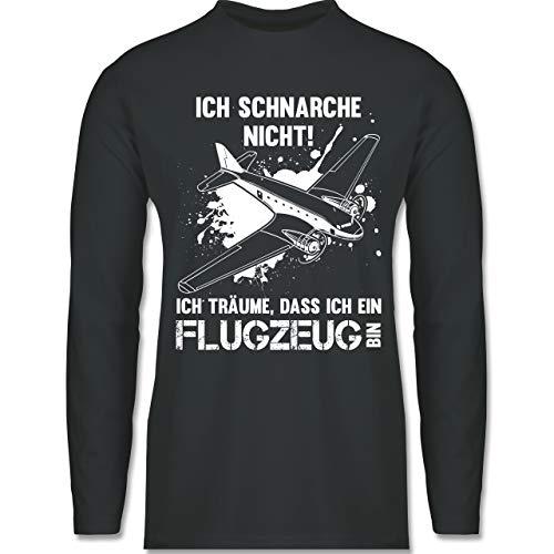Shirtracer Sprüche - Ich schnarche Nicht ich Bin EIN Flugzeug - XXL - Dunkelgrau - BCTU005 - Herren Langarmshirt