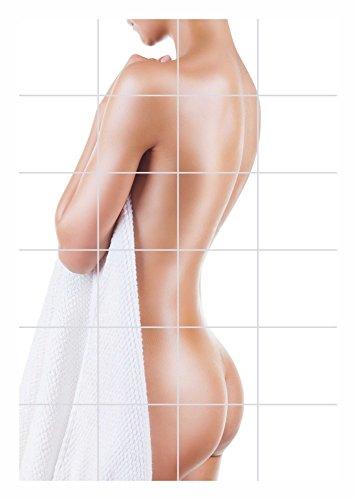FoLIESEN Fliesenaufkleber für Bad und Küche - Fliesenposter - Motiv- Bath Time - Fliesengröße 20x25 cm (LxH) - Fliesenbild 40x75 cm (LxH)
