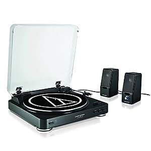 Audio-Technica AT-LP60+SP121BK Giradischi e Altoparlanti, Nero