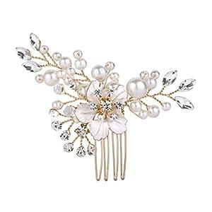 Clearine Damen Hochzeit Braut Kristall Künstliche Perlen Hibiskus Blume Haarkamm Klar Gold-Ton