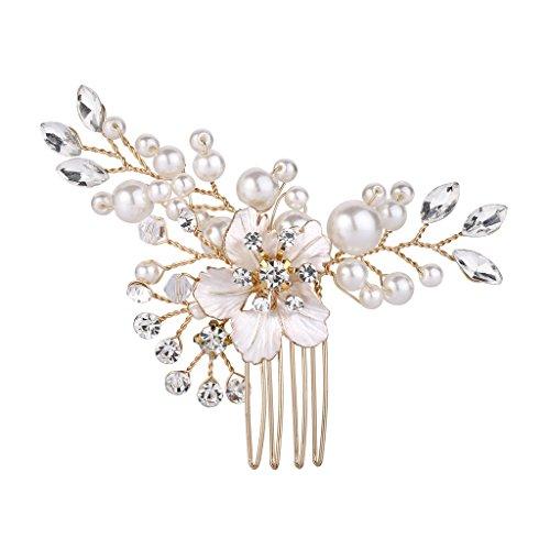 Clearine Damen Hochzeit Braut Kristall Künstliche Perlen Hibiskus Blume Haarkamm Klar Gold-Ton -
