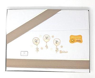 Sabanas franela 100% Algodón MAXICUNA - Globos - Color Blanco-crudo (bajera+encimera+funda almohada).Danielstore