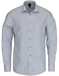 Pure Fashion Fit Hemd Langarm New Kent Kragen Muster Silber