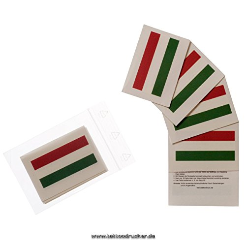 25 x Ungarn Tattoo Fahnen Fan Set - EM Fanartikel 2016 - Hungary Flag