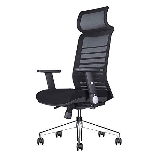 Stühle XUERUI Schwenken Ergonomisch Schreibtisch Einstellbar Büro Mesh Armlehne Computer Kopfstütze Aufgabe Spiel Hoch Zurück Essstühle Möbel (Farbe : Schwarz) -