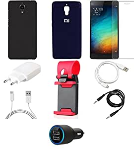 NIROSHA Tempered Glass Screen Guard Cover Case Charger USB Cable Mobile Holder for Xiaomi Mi4 - Combo