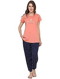 SWEETNIGHT Sweet Night Women Night Suit   Peach & Red Night Dress Strip Print   Pure Cotton Night wear   Top Pyjama Set Half Sleeve