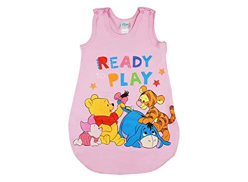 Baby- und Kinder- Sommer-Schlafsack ÄRMELLOS aus Baumwolle, UNGEFÜTTERT, Winnie The Pooh Ready to Play, GRÖSSE 56-62, 68-74, 80-86, 92-98, mit Druck-Knöpfen und Bein-Freiheit Farbe Blau, Größe 56/62