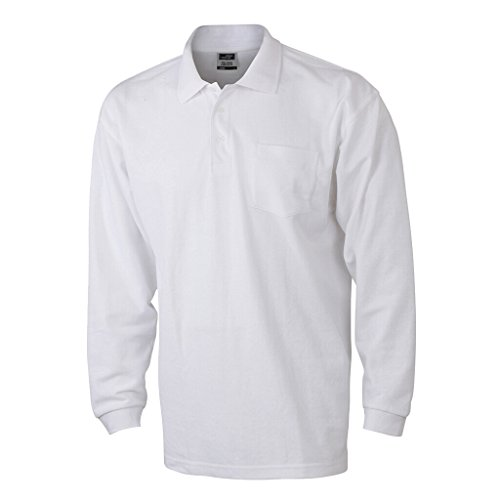 JAMES & NICHOLSON Langarm-Polohemd mit Brusttasche White