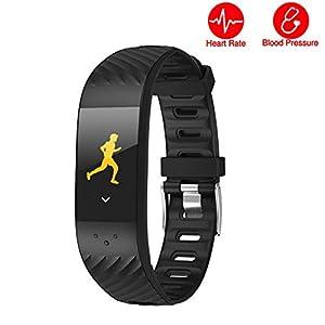 AIFB Herzfrequenz Smart Armband, Schrittzähler Wasserdicht Schlaf-Tracker Fitness-Tracker Blutdruckmessgerät Intelligente Benachrichtigungen Für Android iOS Phone,A-OneSize