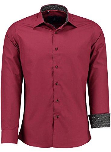 Barbons Herren Hemd - Slim - Fit - Langarm - Premium Bügelleicht Hemden für Business, Freizeit, Hochzeit, Party für Männer - Schwarz Weiß Kragen S