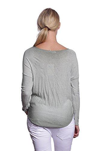 Abbino IG003 Damen Shirts Tops - Made in Italy - Viele Farben - Übergang Frühling Sommer Herbst Festlich Weich Komfortabel Dynamisch Damenshirts Damentops Unifarbe Komfortable Lässig Olive Grün (Art. 6286-22B)