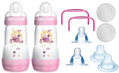 MAM das mitwachsende Flaschen Set - Anti Colic Flaschen, Sauger, Griffe, Schnäbel - 10 teilig - Mädchen