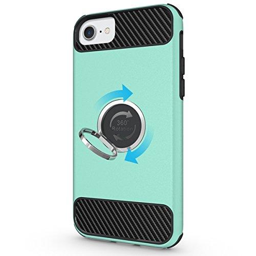 Custodia Cover iPhone 7,Ukayfe 2 in 1 TPU Silicone Custodia Cassa Gomma Soft Silicone Case Bumper Morbida Cover Ultra Sottile Leggero Custodia Flessibile Liscio Caso per iPhone 7 con Colorato Disegno  Menta verde