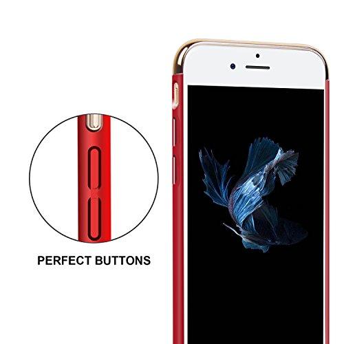 iPhone 6/6s Hülle, Imikoko Ultra Schlank 3 In 1 Hybrid Elektroplattierter Kappen Hart Hard PC Case Schale Schutz Schutzhülle Tasche Bumper mit Chrom Rahmen für Apple iPhone 6/6s(Rose Gold) Rot