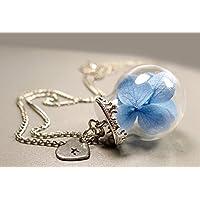 Kette - Echte Hortensien blau mit personalisierten Herz