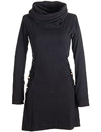 Vishes - Alternative Bekleidung - Einfarbiges Kleid mit extra langem Kapuzenkragen und Schnürungen