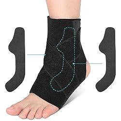 Knöchelbandage Sprunggelenk Stabilisierung, Sprunggelenk Schiene Sport mit klettverschluss und PE-Board Fußgelenkbandage Neopren Fußgelenkstütze zum fußball basketball und Chronische Knöchelschmerzen