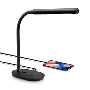 Aglaia Lampe de Bureau, Lampe de Table LED,Port USB de Recharge, 7W, Touch Control, 3 Niveaux de Luminosité Réglable, Cou Flexible 360°, Nero