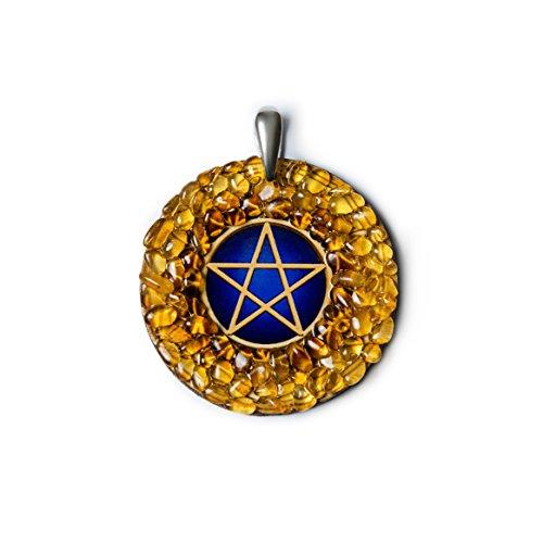 Colgante de ámbar hecho a mano, diseño de pentagrama, amuleto de protección, símbolo pagano, ideal como regalo de nueva era